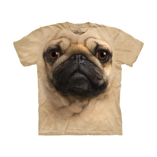 The Mountain Kids Pug Face T-Shirt, Large, Tan