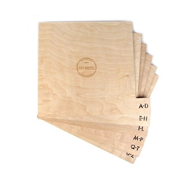 "Kate Koeppel Design: Wooden 12"" Record Dividers - Stencil Font / Horizontal"