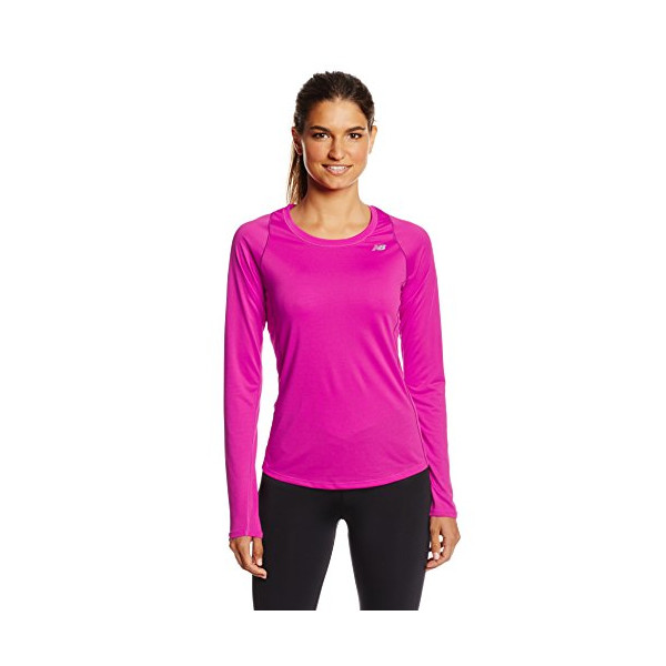 New Balance Women's Accelerate Long Sleeve Tee, Poisonberry, X-Large