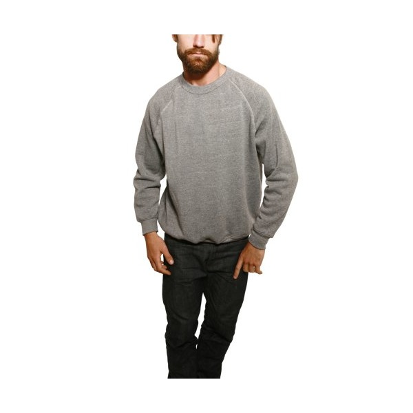 Alternative Unisex Long Sleeve Basic Crew Fleece, Eco Grey Heather, Small