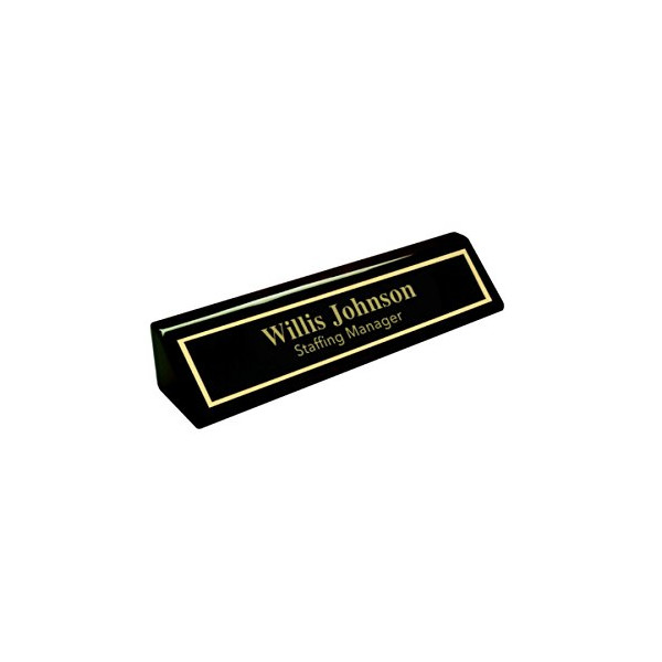 Personalized Business Desk Name Plate, Black Piano Finish - Includes Engraving & Free Shipping