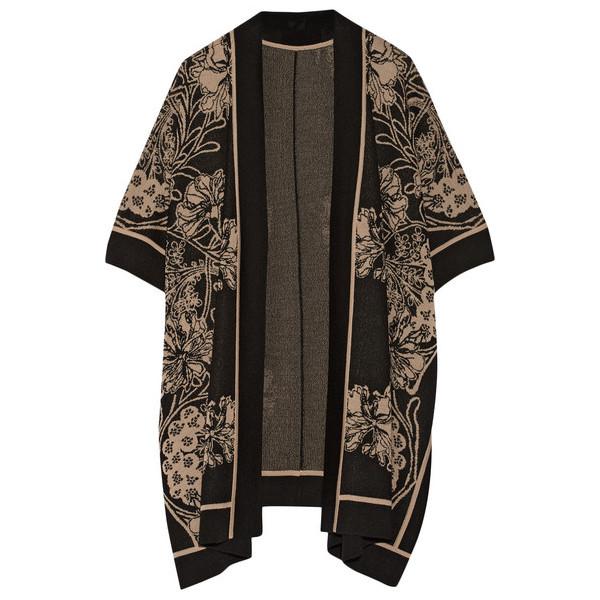 Anna Sui Arcadia Intarsia Wool-Blend Kimono, Floral