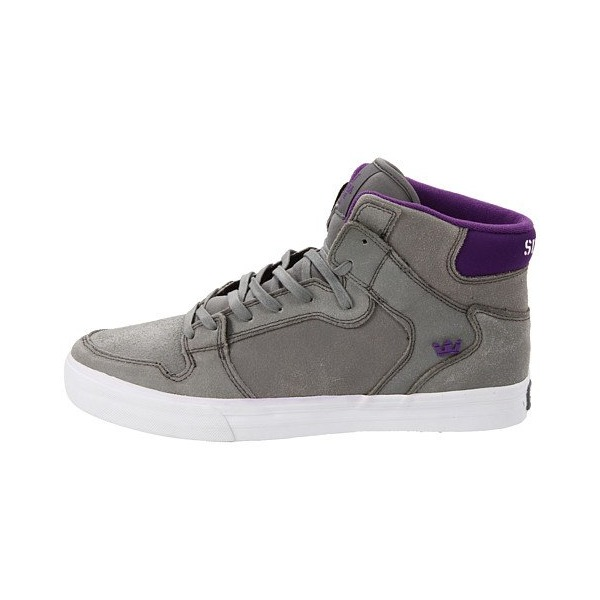 Supra Unisex Vaider Grey Waxed Suede/Purple Sneakers Men's 15 D - Medium