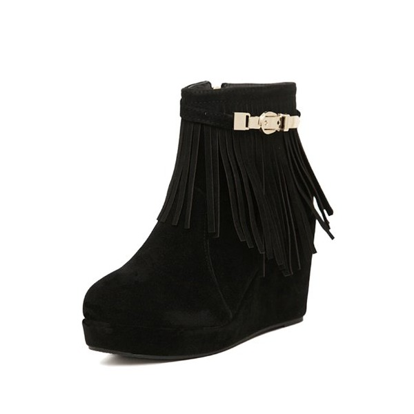 G Antini Ladies Imitation Suede Vamp Fringe Design Wedge Heels Ankle Booties