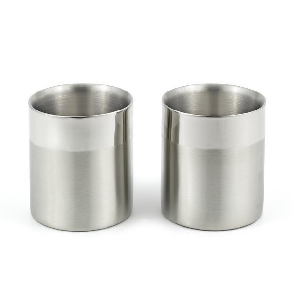 A Set of 2 Double-Walled Stainless Steel Small Cups