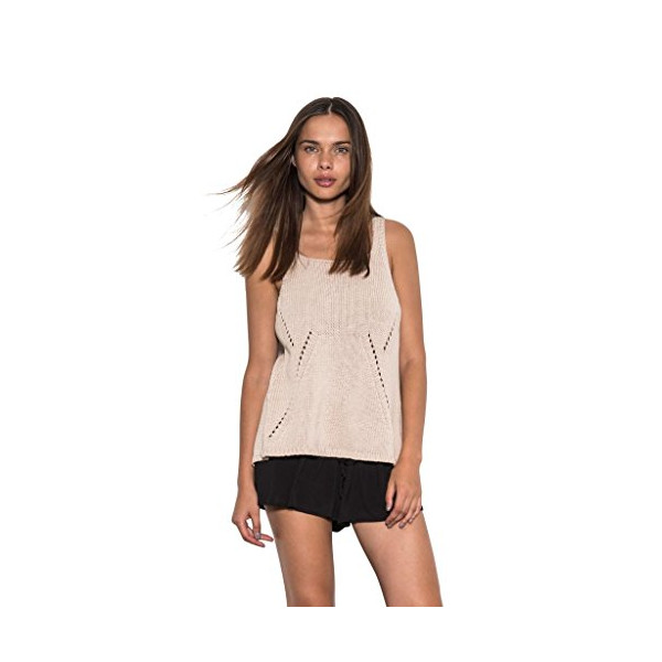 Women Ryan Knit Sleeveless Cross Back Casual Sweater Tank Tan One Grey Day-S