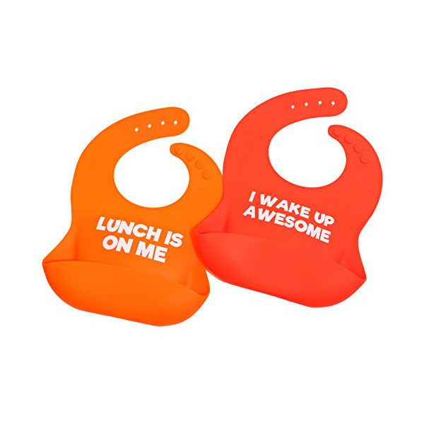 Funny silicone baby bib shower gift set - perfect shower gift for new mom of infant/toddler - for boy or girl - waterproof with food catcher pocket for drool and food! Set of 2