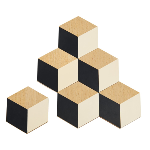 Areaware Table Tiles Black and Beige, Black/Beige
