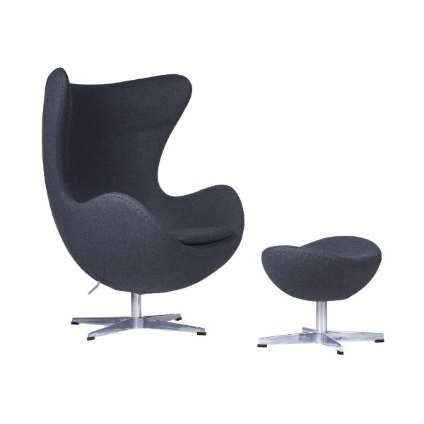 LeisureMod Arne Jacobsen Egg Chair & Ottoman (Dark Gray Wool)