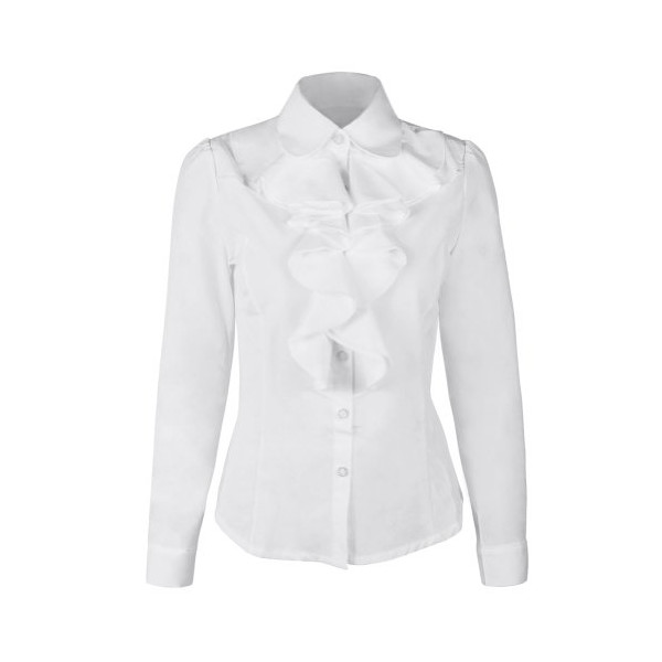 FUNOC Fashion Womens Ladies Long Sleeve Frill Ruffle Collar Tops Blouse Shirt (XL, White)