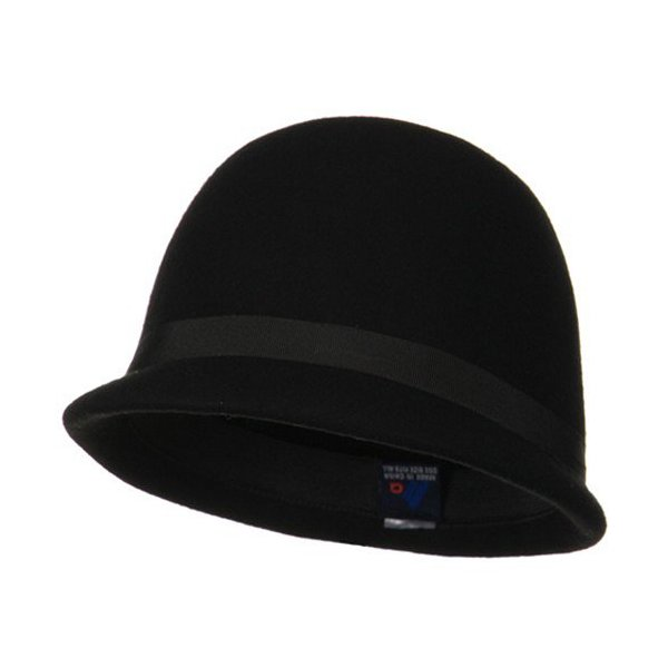 Ladies Wool Felt Cloche Hat - Black