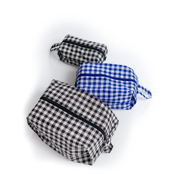 BAGGU 3D Zip Set, Expandable Nylon Zip Pouch 3 Pack for Travel and Organization, Gingham