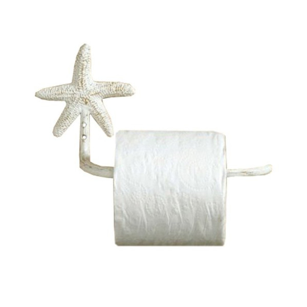 Shabby Chic Tropical Starfish Toilet Tissue Paper Holder-Antiqued White