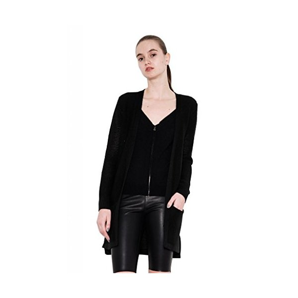 Dani Double Layered Long Knit Cashmere Cardigan Zipper Black by One Grey Day-L