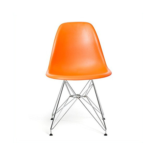 AEON Paris Molded Plastic Side Chair, Orange, Set of 2