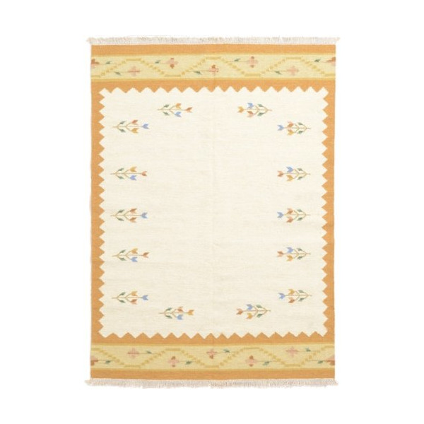 5'6 x 7'9 Ivory Wool Kilim Dhurrie Rug