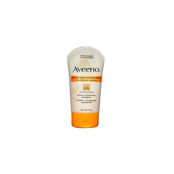 Aveeno Continuous Protection Sunblock Lotion, SPF 55, 4 Ounce