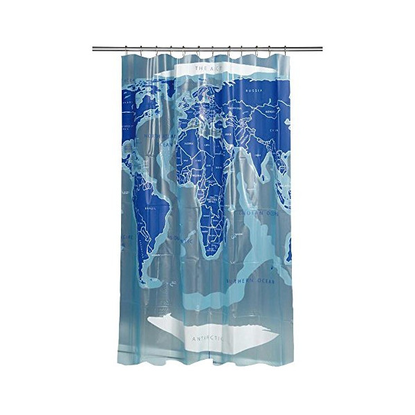 Croydex AE580815YW World Map Shower Curtain, Blue