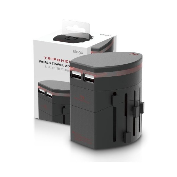 elago® Tripshell WORLD TRAVEL ADAPTER (Built-in Dual USB II)