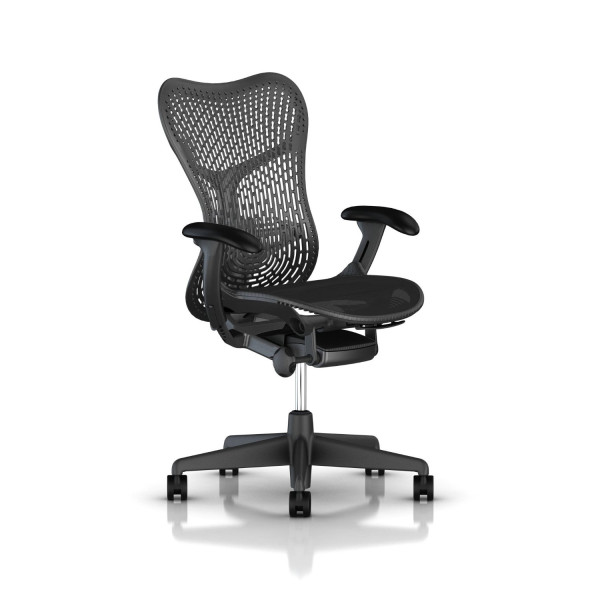 Mirra 2 Chair by Herman Miller - Standard Tilt - Adjustable Arms - Lumbar - Graphite Base - Graphite Frame - Carpet Casters - Graphite Back Finish - Black Lattitude Fabric - Black Armpad Finish - Graphite Aireweave 2 Suspension Seat Material