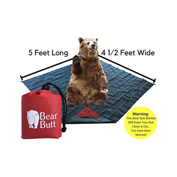 "#1 Best Picnic/Beach/Outdoor Waterproof Blanket/Tarp of All Blankets/Tarps By Bear Butt START UP COMPANY ""Helping Your Butt Stay Clean & Dry"" Great Mat For Travel, Outdoors, Camping & Fits In A Pocket"