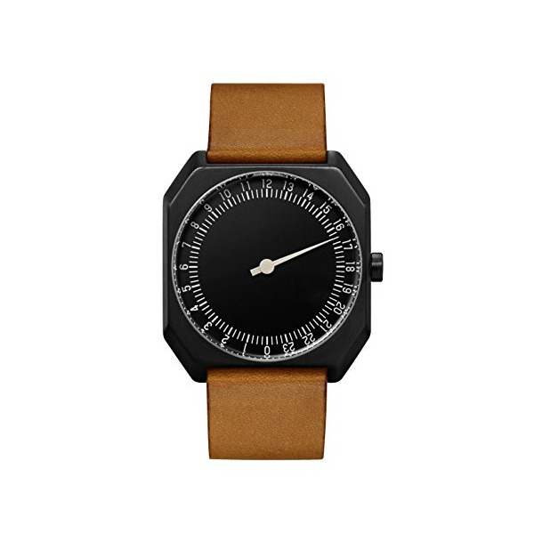 slow Jo 19 - Swiss Made one-hand 24 hour watch - Black with brown leather band