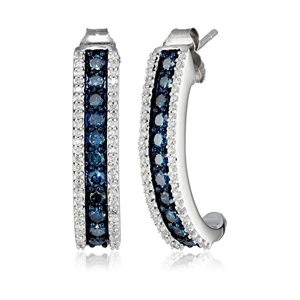 10k White Gold Blue and White Diamond J Shape Earrings (1 cttw)