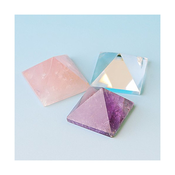 "3 Pcs 1-1 1/4"" Rose Quartz,Purple Amethyst, Clean Crystal Pyramid, by JIC Gem"