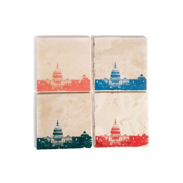 Washington DC Skyline Coaster Set (4 Stone Coasters) Red, Blue, Green, & Orange