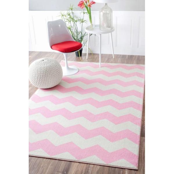 "Contemporary Chevron Vibe Zebra Pink Rug, (5' 3"" x 7' 9"")"