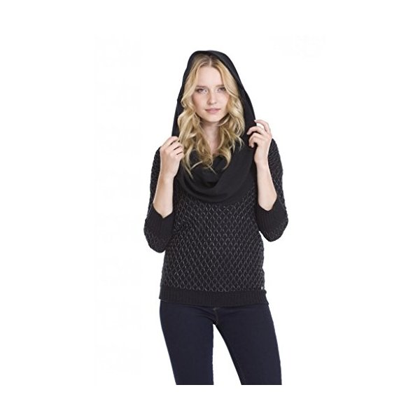 Crystal Cowl Neck Lightweight Pullover 3/4 Sleeve Ribbed Black One Grey Day-L