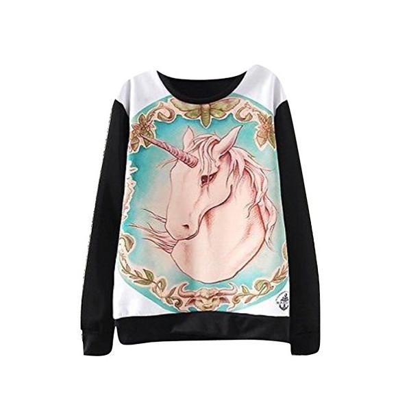 Vintage Womens Long Sleeve Unicorn Graphic Print Pullover Sweatshirt Hoodie Tops