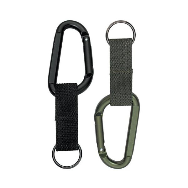 Rothco Heavy Duty 80MM Carabiner with Web Strap Keyring - Black
