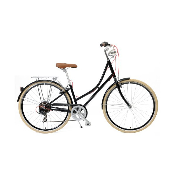 Critical Cycles Dutch Style Step-Thru 7-Speed Shimano Hybrid Urban Commuter Road Bicycle, Black, Small/38cm