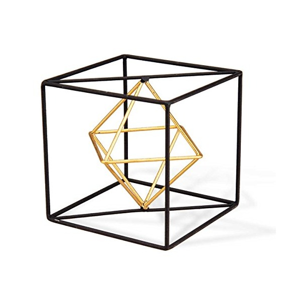 Foreside Wire Cube Sculpturesmall