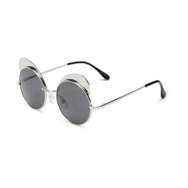 Quay Eyewear Australia Yibrow Round Sunglasses,Silver,55 mm