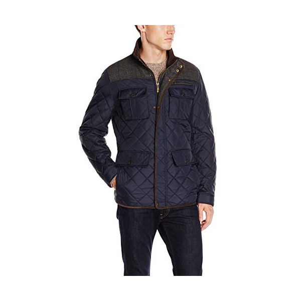 Vince Camuto Men's Quilted Jacket with Plaid Yoke, Navy Grey, Small