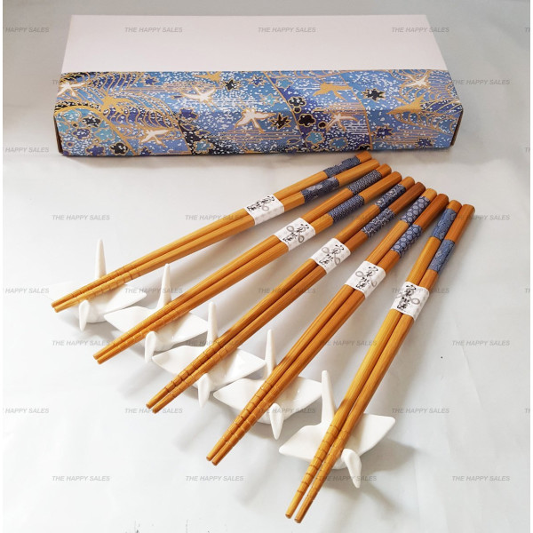 Happy Sales 5 Pairs White Crane Rests and Sashiko Design Chopsticks