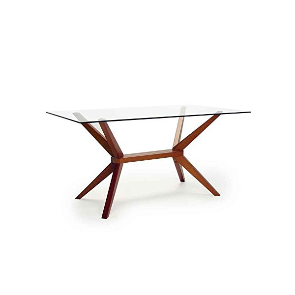Greenwich Glass Top Dining Table in Warm Cherry