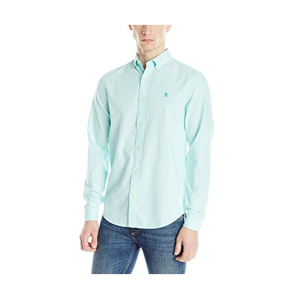 Original Penguin Men's Core Oxford Long Sleeve Shirt, Aruba Blue, XX-Large
