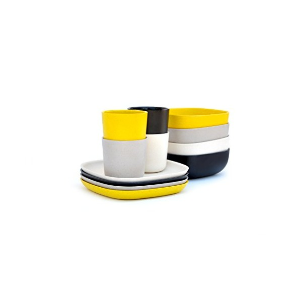 Biobu [by Ekobo] Gusto Breakfast Set in Gift Box, Black/Stone/White/Lemon