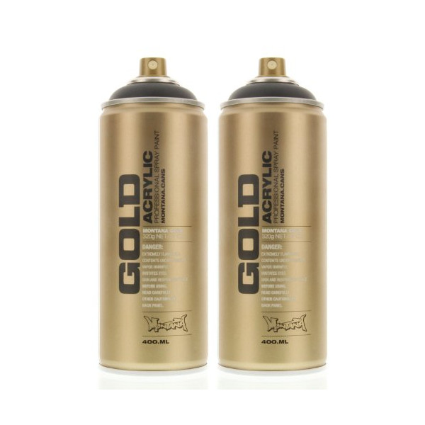 Montana GOLD Acrylic Spray Paint SHOCK BLACK Pack of 2 Cans