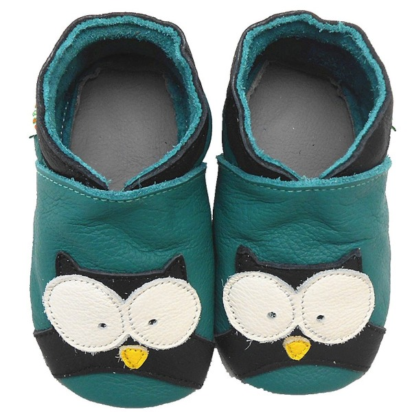 Sayoyo Baby Owl Soft Sole Leather Infant Toddler Prewalker Shoes (18-24 months, Green)