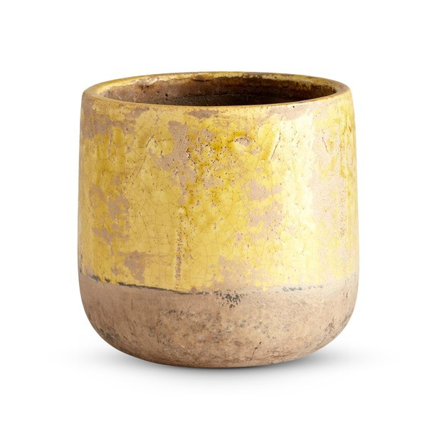 Small Ceramic Planter, Yellow Glaze