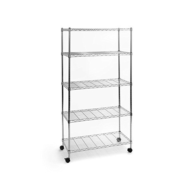 Seville Classics UltraZinc 5-Shelf Wire Shelving Rack with Wheels, 14 x 30 x 60""