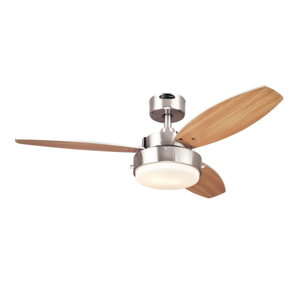 Westinghouse 7247300 Alloy Two-Light Reversible Three-Blade Indoor Ceiling Fan, 42-Inch, Brushed Nickel Finish with Opal Frosted Glass