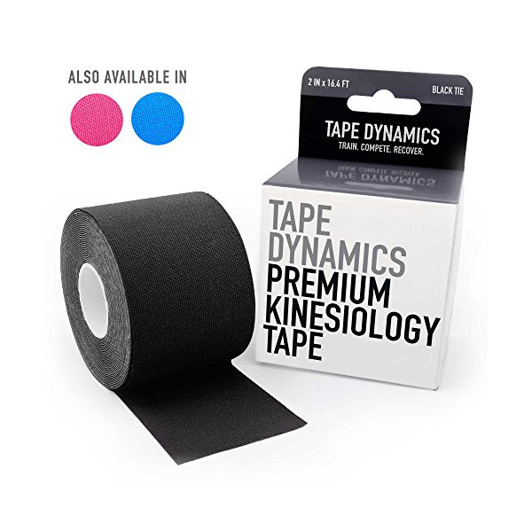 "TAPE DYNAMICS Premium Kinesiology Tape | 2"" x 16.4 ft | Waterproof & Latex-free ( Black )"
