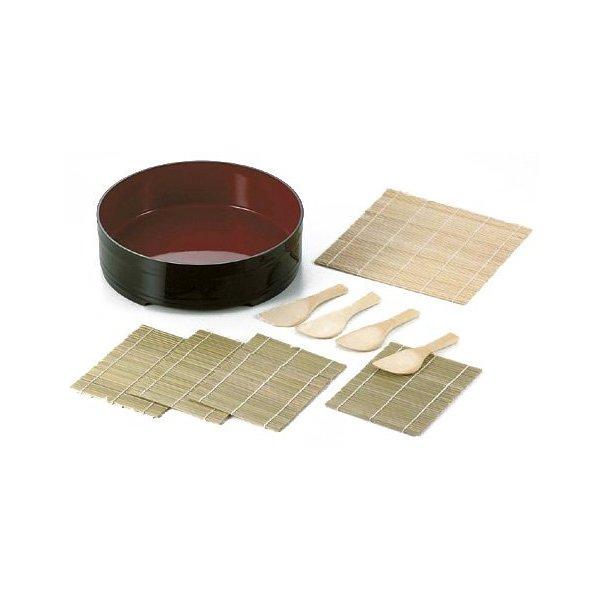 Sushi Oke Plastic Hangiri Bamboo Mat Rice Paddle Set #D-482