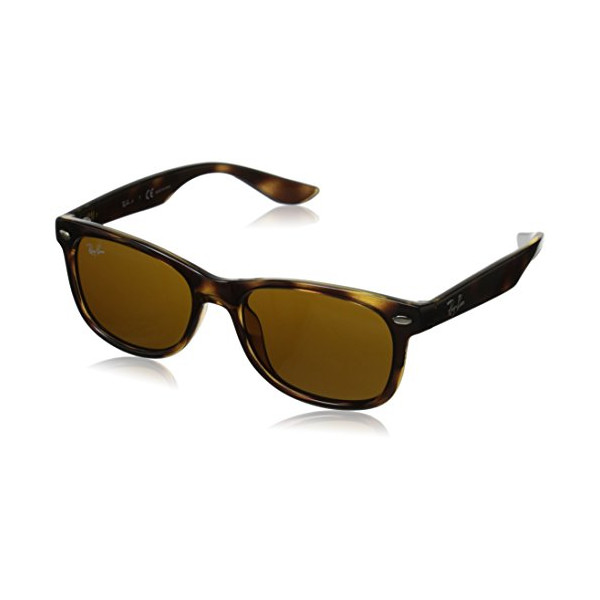 Ray-Ban Junior 0RJ9052S Square Sunglasses, Shiny Black/Brown, 50 mm