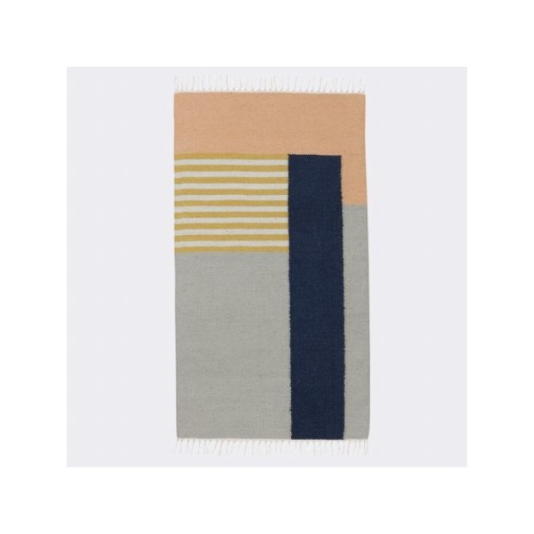 Kelim Rug - White Lines - Small W: 80 x L: 140 cm Wall Decor